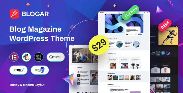 [nulled] Blogar v1.0.2 - Blog Magazine WordPress Theme